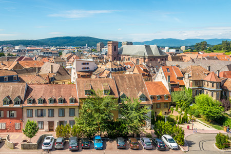 belfort: BELFORT,FRANCE - AUGUST 28,2015 - View of Belfort with the cathedral of St.Christophe . Belfort is a city in northeastern France, situated between Lyon and Strasbourg. Editorial