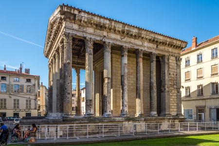 Vienne, FRANCE - AUGUST 29.2015 - The Temple of Augustus and Livia Temple d'Auguste et de Livie is a very well preserved Roman temple in Vienna. Editorial