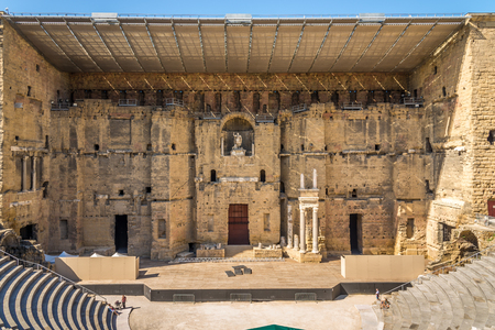 unrelated: ORANGE,FRANCE - AUGUST 29,2015 - Ancient Roman theatre in Orange.Roman Orange was founded in 35 BC by veterans of the Second legion.The name was originally unrelated to that of the orange fruit.