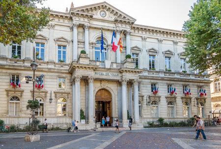 avignon: AVIGNON,FRANCE - AUGUST 29,2015 - City Hall of Avignon. Avignon is a commune in south-eastern France on the left bank of the Rhone river.