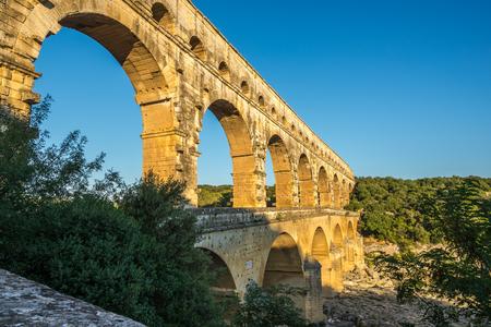 aqueduct: Aqueduct Pont du Gard over Gardon river - France