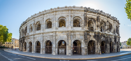 archaeologists: NIMES, FRANCE - AUGUST 30.2015 - Ancient Roman Theatre Arena of Nimes. Nmes has a rich history, dating back to the Roman Empire. Editorial