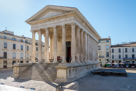 NIMES,FRANCE - AUGUST 30,2015 - Ancient Monument Maison Carree of Nimes.Nimes has a rich history, dating back to the Roman Empire. Editorial