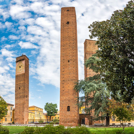 vinci: Old Towers at Da Vinci square in Pavia - Italy