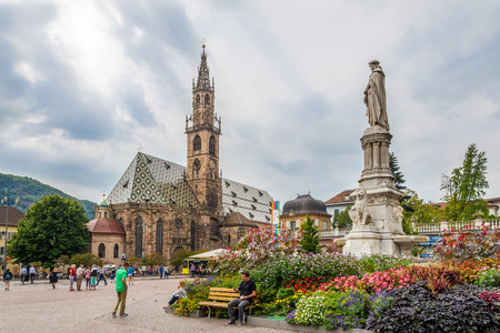 bolzano province: BOLZANO,ITALY - SEPTEMBER 2,2015 - Walther place with cathedral in Bolzano. Bolzano is the capital city of the province of South Tyrol in northern Italy. Editorial