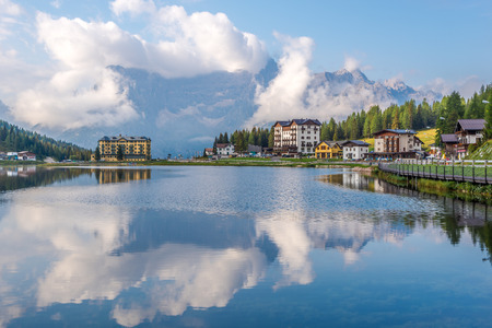 lake misurina: MISURINA,ITALY - SEPTEMBER 3,2015 - View at the Misurina Lake. Lake Misurina is the largest natural lake and it is 1,754 m above sea level.