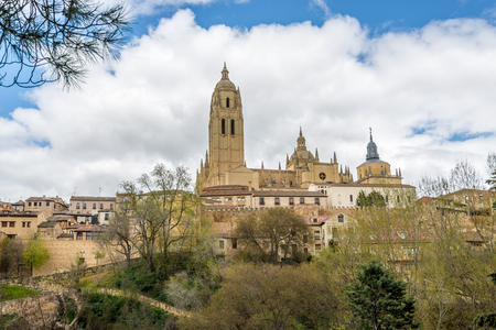 segovia: View at the Cathedral of Segovia in Spain