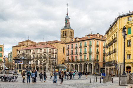 mayor: SEGOVIA,SPAIN - APRIL 22,2016 - Square Plaza Mayor of Segovia. Segovia is a city in the autonomous region of Castile and Leon in Spain.