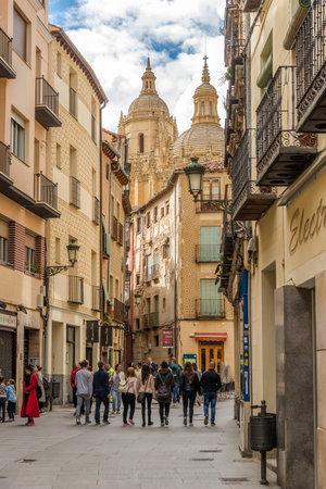 castile: SEGOVIA,SPAIN - APRIL 22,2016 - In the streets of Segovia. Segovia is a city in the autonomous region of Castile and Leon in Spain. Editorial
