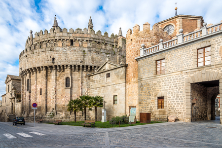 avila: Avila, SPAIN - APRIL 23.2016 - Apse of the cathedral through the town walls in Avila. �vila is a Spanish town Located in the autonomous community of Castile and Leon.