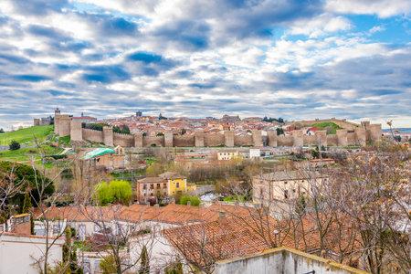 castile leon: Avila, SPAIN - APRIL 23.2016 - View at the Town Walls of �vila. �vila is a Spanish town Located in the autonomous community of Castile and Leon.