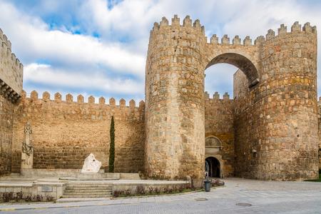 avila: Wall with Gate Alcazar in Avila - Spain Stock Photo