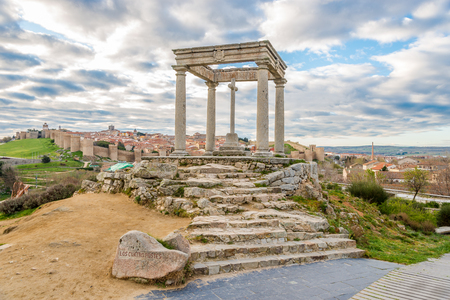 Monument Four Posts (Los Cuatro Postes) in Avila - Spain Stock Photo