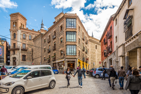 toledo: TOLEDO,SPAIN - APRIL 23,2016 - In the streets of Toledo. Toledo is known as City of the Three Cultures .Toledo is a municipality located in central Spain.