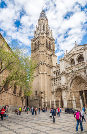 belltower: TOLEDO,SPAIN - APRIL 23,2016 - Belltower of Cathedral in Toledo. Toledo is known as City of the Three Cultures .Toledo is a municipality located in central Spain. Editorial