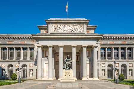 velazquez: Entrance to Prado museum with Velazquez statue of Madrid in Spain Editorial