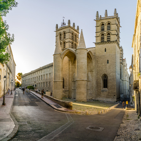 pierre: MONTPELLIER,FRANCE - AUGUST 26,2016 - Saint Pierre cathedral in Montpellier.The building was elevated to the status of cathedral in 1536.
