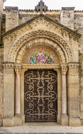 saint jacques: Entrance to Saint Jacques church in Beziers Stock Photo