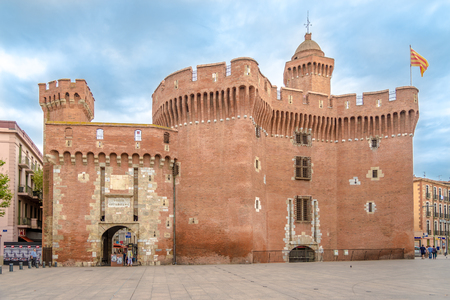 PERPIGNAN,FRANCE - AUGUST 28,2016 - Historic building La Castillet in Perpignan. Perpignan is a city, a commune, and the capital of the Pyrenees Orientales department in south western France. Editorial