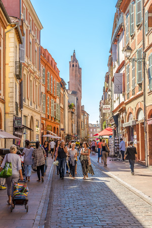 TOULOUSE,FRANCE - AUGUST 30,2016 - In the streets of Toulouse. Toulouse is the capital city of the southwestern French department of Haute-Garonne, as well as of the Occitanie region.