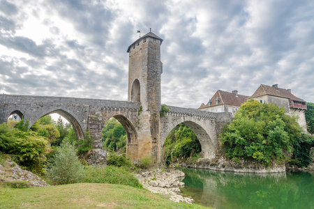 gave: Bridge over river Gave de Pau in Orthez - France Stock Photo