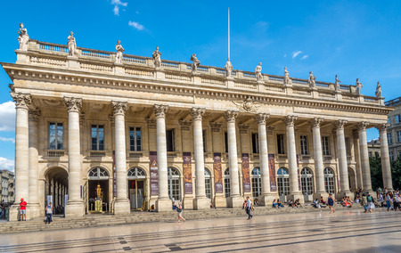 wine industry: BORDEAUX,FRANCE - AUGUST 31,2016 - Grand Theatre building in Bordeaux. Bordeaux is the worlds major wine industry capital. Editorial