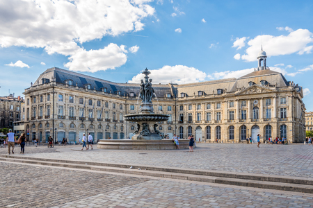 wine industry: BORDEAUX,FRANCE - AUGUST 31,2016 - Place of Bourse with fountain Three Graces in Bordeaux. Bordeaux is the worlds major wine industry capital.