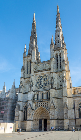wine industry: BORDEAUX,FRANCE - AUGUST 31,2016 - Cathedral of Saint Andre in Bordeaux. Bordeaux is the worlds major wine industry capital.