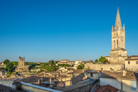 saint emilion: Morning view at the roofs of Saint Emilion in France Stock Photo