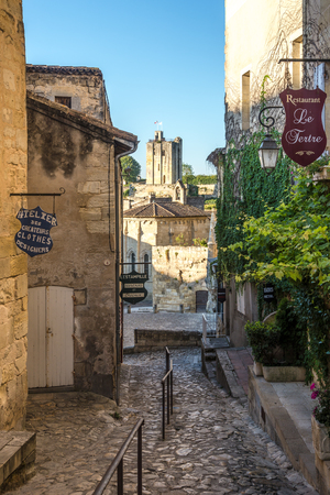 SAINT EMILION,FRANCE - SEPTEMBER 1,2016 - In the streets of Saint Emilion - Tower of Roy. Saint Emilion is a commune in the Gironde department in southwestern France.