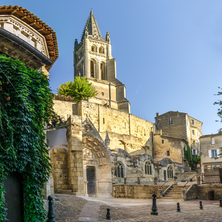 monolithic: SAINT EMILION,FRANCE - SEPTEMBER 1,2016 - Monolithic Church and Bell tower of Saint Emilion. Saint Emilion is a commune in the Gironde department in southwestern France.