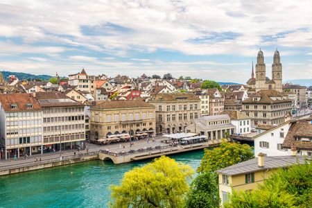 ZURICH,SWITZERLAND - SEPTEMBER 3,2016 - Bank of the river Limmat in Zurich. Zurich is the largest city in Switzerland. Editorial