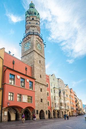 innsbruck: INNSBRUCK,AUSTRIA - SEPTEMBER 4,2016 - Town tower of Innsbruck. Innsbruck is the capital city of Tyrol in western Austria. It is located in the Inn valley.