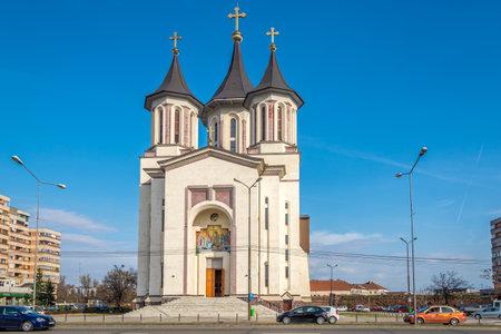 ORADEA, ROMANIA - MARCH 21,2017 - View at the Orthodox church in Oradea. Oradea is located on the banks of Crisul Repede River .