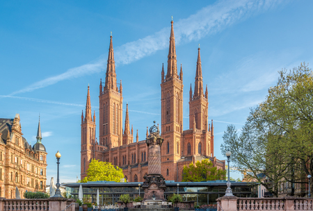 View at the Markt church from Market place in Wiesbaden Stock Photo