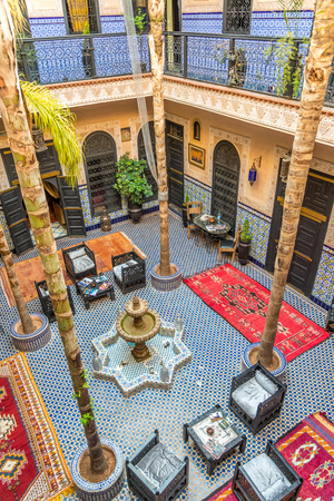 MARRAKESH, MOROCCO - APRIL 1,2017 - Courtyard of the Moroccan Housein Marrakesh. Marrakesh is the fourth largest city in the Morocco.