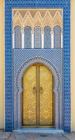 fes: Decorated doors at the Royal palace in Fez - Morocco