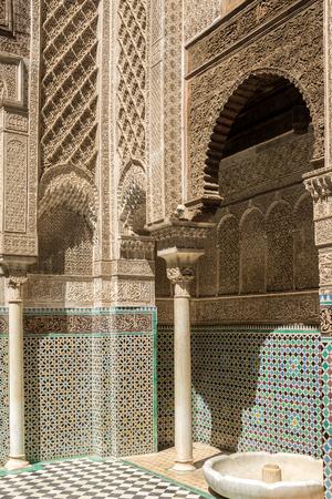 fes: Decoration in medresa Al-Attarine in old medina quarter of Fez in Morocco