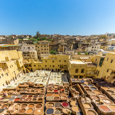 fes: FEZ, MAROKO - APRIL 6,2017 - Chouwara Tannery in the old Medina of Fez. Fez city has been named
