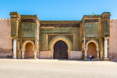 Gate Bab El-Mansour at the El Hedim square in Meknes ,Morocco