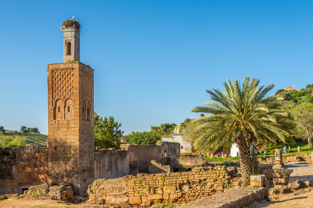 RABAT,MOROCCO - APRIL 8,2017 - View at the ruins of Chellah mosque with old minaret in Rabat. Rabat is the capital city of Morocco and its second largest city .
