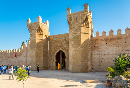 RABAT,MOROCCO - APRIL 8,2017 - Porte Chellah - Entrance to Necropole of Chellah in Rabat. Rabat is the capital city of Morocco and its second largest city .