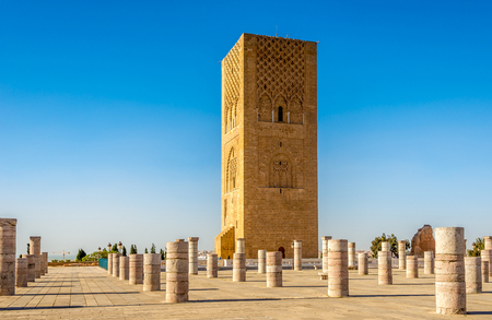 Hassan Tower near Mausoleum Mohammed V. in Rabat ,Morocco Stock Photo