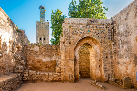 In the ruins of mosque in ancient Chellah near Rabat - Morocco Imagens