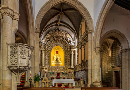 TOMAR,PORTUGAL - MAY 11,2017 - Inside of church St. John Baptist in Tomar. Tomar is one of Portugals historical jewels and more significantly was the last Templar town to be commissioned for construction.