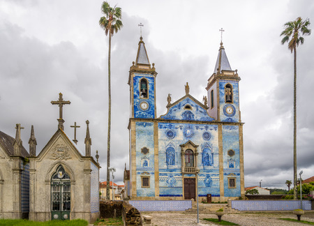 CORTEGACA,PORTUGAL - MAY 12,2017 - View at the church Santa Marinha of Cortegaca in Portugal. Church are decorated with azulejo Tiles.