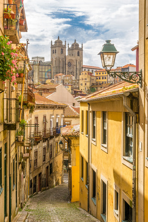 unesco: View at the Cathedral of Porto from street - Portugal Stock Photo