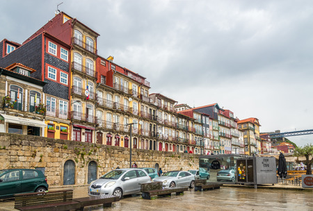 PORTO, PORTUGAL - MAY 13,2017 - Ribeira - Embankment of Douro River in Porto. Porto is one of the oldest European centers, and its historical core was proclaimed a World Heritage Site by UNESCO in 1996.
