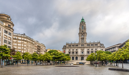 PORTO, PORTUGAL - MAY 13,2017 - View at Porto City Hall in the Avenida dos Aliados. Porto is one of the oldest European centers, and its historical core was proclaimed a World Heritage Site by UNESCO in 1996.