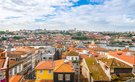 PORTO, PORTUGAL - MAY 13,2017 - View at the roofs of Porto. Porto is one of the oldest European centers, and its historical core was proclaimed a World Heritage Site by UNESCO in 1996. Editorial